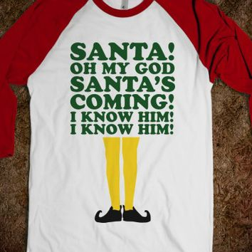Santa's Coming!-Unisex White/Red T-Shirt