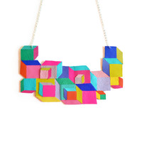 Neon Leather Bib Necklace, Cube Geometric Necklace, Escher Squares, Rainbow Jewelry | Boo and Boo Factory - Handmade Leather Jewelry