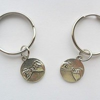 Pinky Promise Swear Best Friends silver tone key chain set