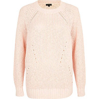 LIGHT PINK GEOMETRIC RIB JUMPER