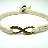 Brass Infinity Bracelet, White Hemp Jewelry