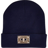 NAVY TWIST LOCK BEANIE HAT