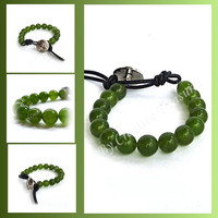 Green Jade Gemstone Bead Bracelet with Button Fastening