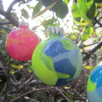 Glass Ornament, Neon Yellow, Navy Blue and Grey, Hand painted glass, glow in the dark paint, Green Glow Pigment, OOAK, Christmas decoration