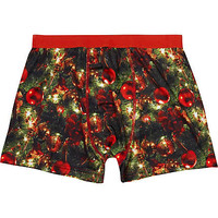 RED CHRISTMAS PRINT BOXER SHORTS