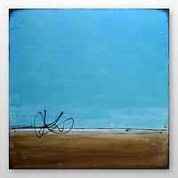 HUGE Abstract Beach Painting -Original Modern Contemporary Art - Blue, Turquoise, Tan - Large Canvas 36 x 36: Marcoola Beach - FREE SHIPPING