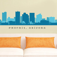 "PHOENIX ARIZONA Skyline Wall Decal Art Vinyl Removable Peel n Stick up to 70"" x 18"" Living Room Office Business Decor City"
