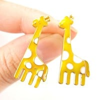 Large Giraffe Shaped Animal Stud Earrings Yellow Enamel