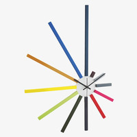 SPECTRUM MULTI-COLOURED Wood Large spoke wall clock - HabitatUK