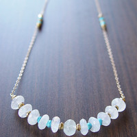 Moonstone Nugget Gold Necklace - Long - Statement Piece