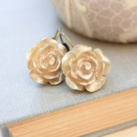 Gold Rose Earrings Lever Back Earrings Lightweight Drop Earrings Metalic Shimmer Gold Resin Flower Earrings Romantic Shabby Chic