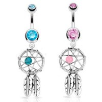 2pcs Dream Catcher Belly Ring Dream Catcher Woven Star Design-Bead & Feathers Fancy Navel Ring 14G Aqua & Pink