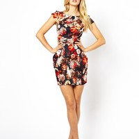 Closet Tulip Dress with Pockets in Winter Floral
