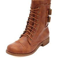 LACE-UP DOUBLE BUCKLE COMBAT BOOTIE