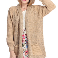 ROMWE | ROMWE Twin Pockets Chunky Knitted Khaki Cardigan, The Latest Street Fashion