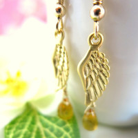 Gold angel wing citrine drop earrings, Christmas gold angel wing earrings, Guardian angel gold citrine dangle earrings