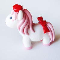 Lovely White Pony with Pink Hair Heart and Bow