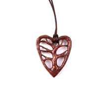 Wooden Heart Pendant, Tree of Life Necklace, Wooden Heart, Tree of Life Pendant, Hand Carved Pendant, Wood Jewelry, Wooden Tree Pendant
