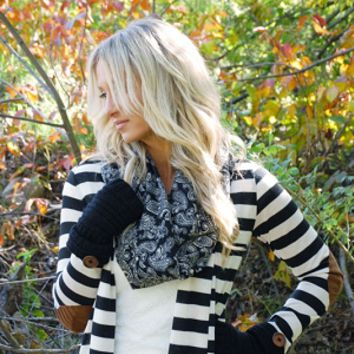 Elbow Patch Striped Cardigan