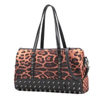 Punk Rivets Leopard Print Causal Shoulder Bag Tote