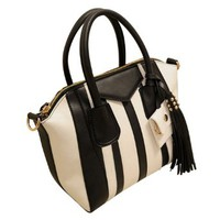 Vintage Tassel Fashion Black White Vertical Stripes Tote Crossbody Shoulder Bag