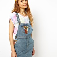 ASOS Jacquard Patch Denim Dungaree Dress
