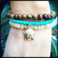 Turquoise and Citrine Buddha Bracelet Set