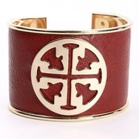 RED FAUX LEATHER DESIGNER INSPIRED BRACELET CUFF
