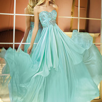 Alyce 2014 Ice Mint Long Strapless Sweetheart Ruched Beaded Prom Dress 6285 | Promgirl.net