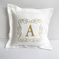Elegant monogram pillow with flange