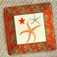 Christmas Beach / Holiday Decor / Starfish / Decoupage Plate / Hostess Gift / Unique Christmas / Coastal Christmas