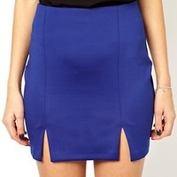 ASOS Mini Skirt in Scuba With Splits