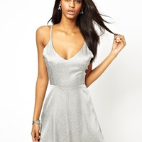 True Decadence Jacquard Cami Skater Dress with Low Back