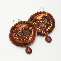 Copper Sequin Earrings - Coffee hologram Brown- Hand embroidered felt
