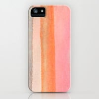 iPhone 5c 5 4 4s 3g case - fine art - abstract watercolor painting - pink grey orange - phone case cover - neon colorful