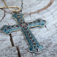 Vintage Plique-a-jour Large Glass Cross Pendent
