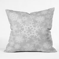 Lisa Argyropoulos Snow Flurries in Gray Outdoor Throw Pillow