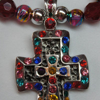 Colorful Cross Necklace OOAK Red Handmade