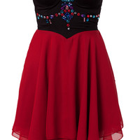 AZTEK BEADED SWEETHEART BUSTIER DRESS
