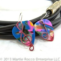 Multicolor mosaic Guitar Pick Earrings pink wire music symbols. 150GPE