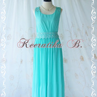 Keeratika B - Formal Maxi Dress Floor Length Dress Mint Blue Dress Pleated Skirt Party Dress Cocktail Dress Prom Dress Wedding Dress