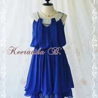 Keeratika B - Sexy Cocktail Dress Royal Blue Dress Egyptian Pearl Beads Neckline Layers Skirt Prom Dress Party Dress Night Dress