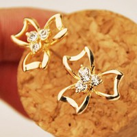 Diamond Heart Clover Earrings