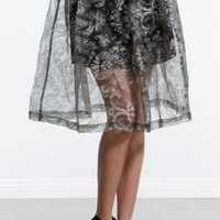 Winter Floral Organza Skirt |MakeMeChic.com