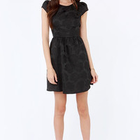 Rose Were the Days Black Jacquard Dress