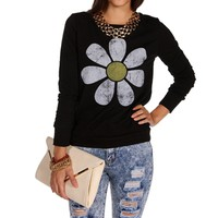 Black Daisy Long Sleeve Sweatshirt