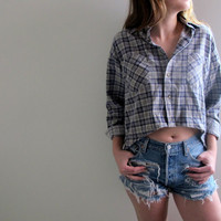 Plaid Shirt Flannel Womens High Low Hi Lo Cropped Crop Top Tunic Button Up Down Blue Grunge Size Medium Baggie Oversized Western