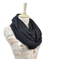 Charcoal Infinity Scarf Sweater Knit Circle Gray Dark