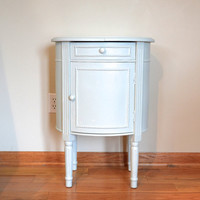 Shabby Chic Robin's Egg Blue Wooden Nightstand with Drawers