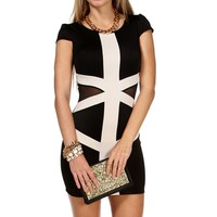 Black/Taupe Abrstract Short Dress